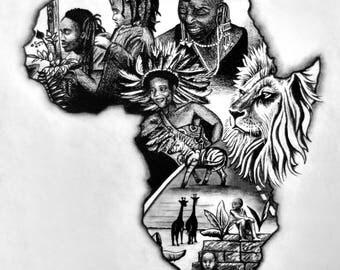 Africa / Charcoal / Artwork