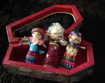 3 Worry Dolls in a Coffin
