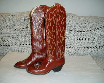 Vintage Hondo  leather Tall Western Boots men's size 7B women's size 8 1/2 B