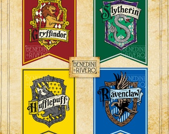Gryffindor, Slytherin, Hufflepuff & Ravenclaw Printable Banners | Harry Potter Party | Hogwarts Houses | Instant Download