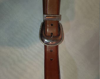 Beautiful Babe Didrikson Tan Colored Western Belt with Large Silver Buckle (L)