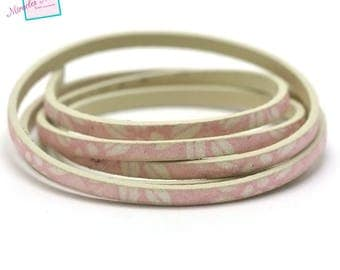 """1 m leather strap double fancy 5 mm """"various 17 sequin leaf"""", pink"""