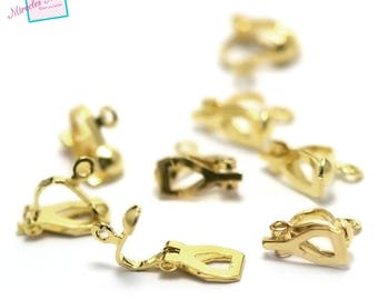 20 clasps for easy clip stud earring, gold