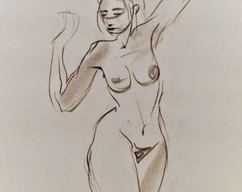 Figure study 2.09. Original Fine art Charcoal drawing for home decoration. Gesture sketch of female figure.