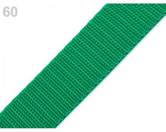 Green nylon webbing 25 mm 1 meter