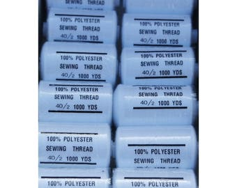 thread white polyester 1000 yards 101