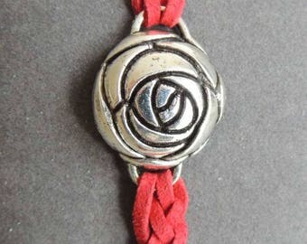 Rosebud metal and red faux suede braided bracelet