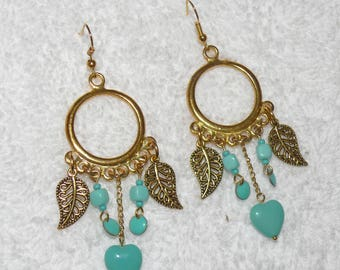 Single earring with gold and turquoise beads
