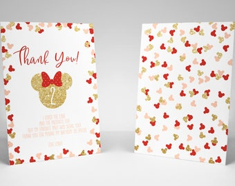 Minnie Mouse Thank You Card, High Resolution Digital Printable Thank You Note, minnie mouse card, other colours available, digital glitter