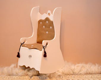 Rocking chair wood painted white and taupe linen, embroidered with white stars for kind tilda dolls