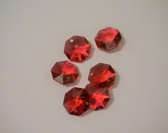 6 Octagon pendants - Red - 1 hole