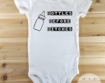 Funny Baby Shirt, Funny Baby Onesies, Bottles Before Bitches, Funny Baby Clothes, Funny Baby Gift, Baby Boy, Baby Girl, New Baby Gift