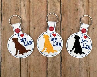 I Love My Lab Key Chain, Labrador Retriever Key Fob, Pick A Color