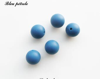 15 mm round silicone, silicone bead: teal
