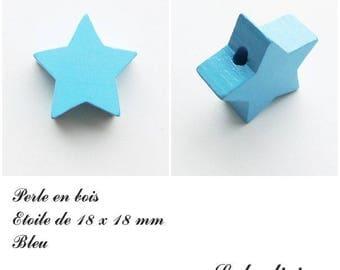 18 x 18 mm wooden bead, bead flat Star: Blue