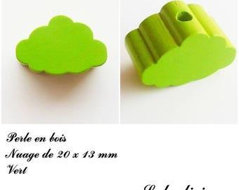 20 x 13 mm wood bead, Pearl flat cloud: Green