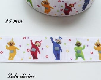 The Teletubbies 25 mm white grosgrain Ribbon sold by 50 cm