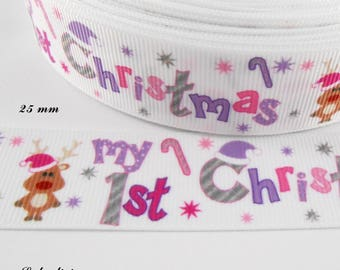 Ribbon grosgrain white reindeer & my 1 st christmas by 25 mm sold by 50 cm
