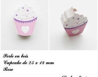 25 x 18 mm wooden bead, Pearl flat Cupcake: pink