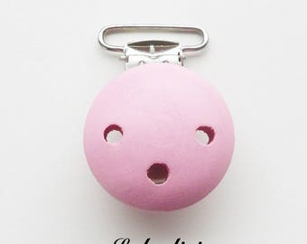 Clip / wooden pacifier Clip, from 25 mm: light pink
