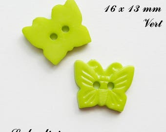 Set of 5 Butterfly buttons-16 x 13 mm 2 holes: Green