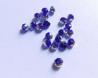 40 3mmx4mm two-tone dark blue glass facet beads transparent and silver