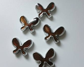 5 chocolate-colored Butterfly beads and silver Choker