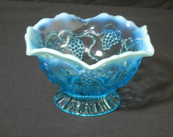 Jefferson Glass 'Vintage' Pattern Blue Opalescent Bowl