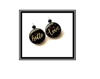 "Original & unique earrings gold black Love Black Gold heart heart ""Hello Love"""