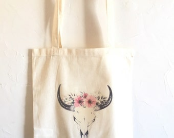 Tote Bag skull & flowers pink Bohemian! ... french handmade