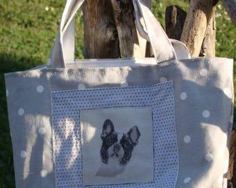 Bag light gray white pea dog head