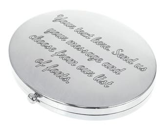 Personalised Engraved Oval Compact Mirror - Basic Text Design