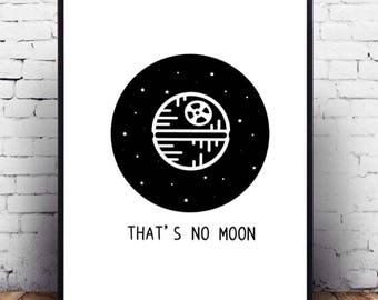 Star Wars minimalist poster black and white printable wall art, Death Star fanart for wall decor, cute Star Wars design