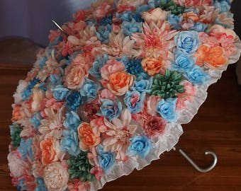 Wedding Umbrella / Floral Bridal Parasol for Brides, Bridesmaids, Flower Girl, Made to Order, Many Colors Available, Hand Made