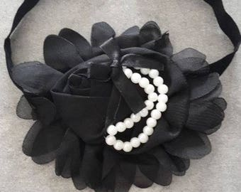 baby girl headband pattern flower and black beads