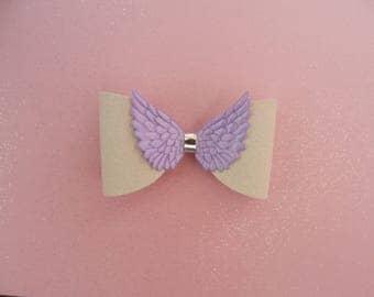 girls hair bow, lilac angel wing hair clip