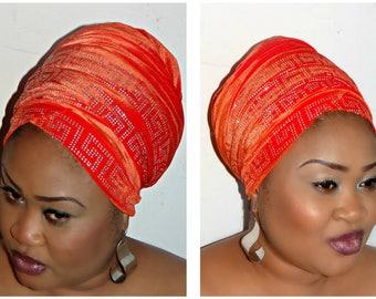 Extra Long Velvet Turban Head Wrap With Diamond stones