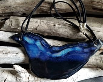 Rutile Obsidian Porcelain Pendant / Porcelain Jewelry, Ceramic Jewelry, Handmade Jewelry, Statement Jewelry