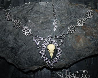 Crow Skull necklace, gothic, Victorian