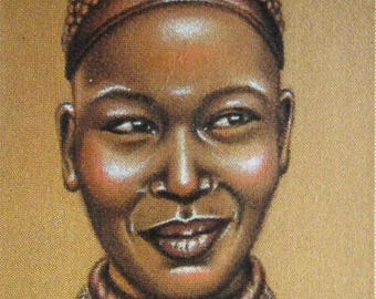 "African painting, ""smile"" mixed media drawing"