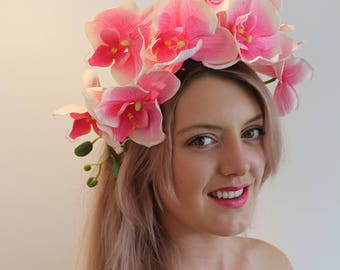 Pink Orchid Flower Crown Headdress Festival Headpiece Fascinator