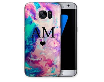 Personalised Pink Blue Water Effect Heart initials Phone Case Samsung Galaxy S4 S5 S6 Edge S7 Edge S8 Plus