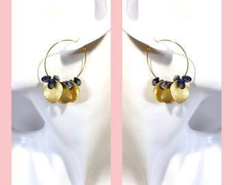Hoop earrings gold navy blue Japanese Czech beads -catnap-