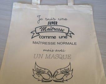 """Custom"" light beige cotton tote bag"