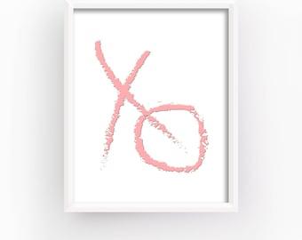 Xo Wall Art, Bedroom Prints, XO, Art Prints, Digital Prints, Fashion Prints, Girls Room Print, Pink Wall Art, Instant Download | M0021