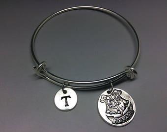 Hogwarts Charm Bangle, Harry Potter Bracelet, Personalised Jewelry, Adjustable Bangle, Stacking bangle, Initial bracelet, wizard charm,