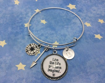 """Positive Quote """"Live the life you have imagined"""" Charm Bangle Bracelet with arrow charm and compass charm and initial charm to personalise"""