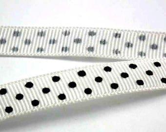 ❤1M 10 mm❤ black/white polka dot satin ribbon
