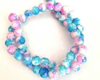 ♥ X 56 PCS PEARL GLASS 8MM BLUE SPOT PINK ♥