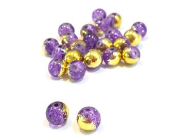 ❤ X 10 glass beads Crackle bicolor 6mm gold purple ❤